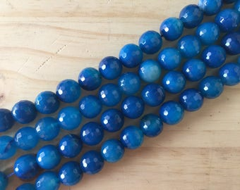 Faceted Blue Agate, 14 mm, 16 inch strand
