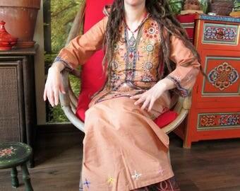Vintage 1970's, Gypsy boho afghan hippie dress with mirror work