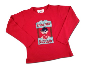 Boy's Red Valentine Shirt with Kissing Booth and Embroidered Name