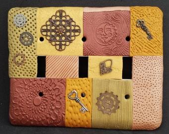 Steampunk switch plate, steampunk light switch, mosaic switch plate, mosaic light switch, tripple toggle switch plate, celestial switch