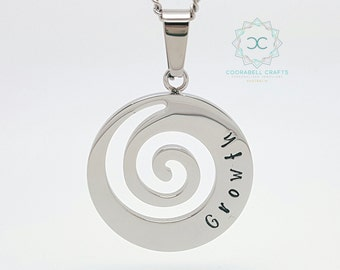 Personalised Jewellery, Personalised Necklace, Family Necklace, Silver Spiral Pendant, Silver Spiral Necklace, Growth Pendant, Hand Stamped