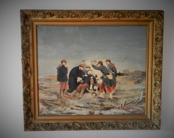 Antique Military Oil Painting. Vintage Civil War. Vintage Militaria. French. Franco Prussian War. 1800's. French Decor. Home Decor. Rare.