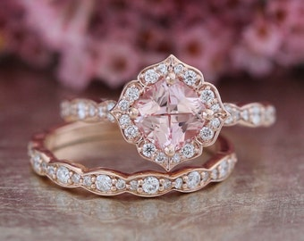 14k Rose Gold Bridal Set Vintage Floral Champagne Peach Sapphire Engagement Ring and Scalloped Diamond Wedding Band 6x6mm Cultured Sapphire