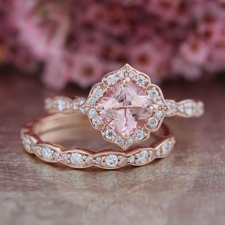 14k Rose Gold Bridal Set Vintage Floral Champagne Peach