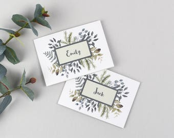 Botanical wedding place cards for guest names and menu. Wedding place setting cards with green watercolour leaves. Place markers for seating