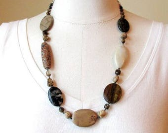 """Shades of Brown asymmetrical statement necklace 23"""" long"""