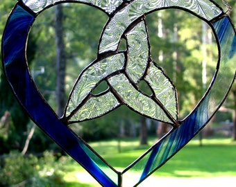 Trinity Knot Heart in Blue Baroque and Clear Textured Glass, Suncatcher, handmade in Australia