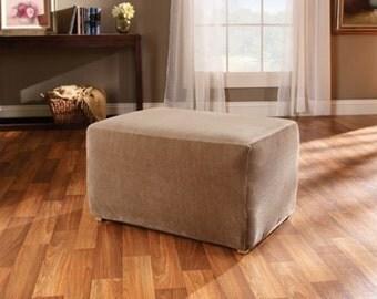 Burlap Ottoman Slipcover - Burlap Ottoman Cover - Ottoman Cover - Chair Cover - Slipcover  - Rustic Decor - Rustic Home Decor