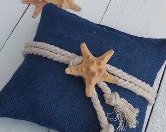 Beach Wedding Ring Pillow - Indigo Burlap Ring Pillow - Starfish Ring Bearer Pillow - Wedding Pillow - Nautical Ring Pillow - Wedding Decor