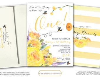 Bee Birthday Invitation // First Birthday Invitation // Stripes // Floral // Bees // little honey // Watercolor // MELBOURNE COLLECTION