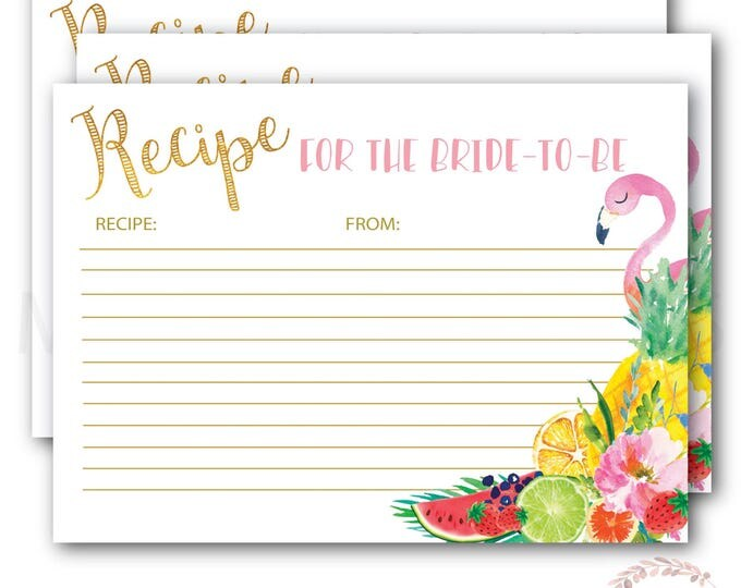 Recipe Card for the Bride to Be // Flamingo Recipe Card // Tropical Recipe Card // Fruit // Gold //Instant Download// ARUBA COLLECTION