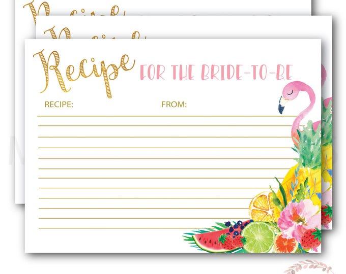 Recipe Card for the Bride to Be // Flamingo Recipe Card // Tropical // Fruit // Gold  // Printed // ARUBA COLLECTION