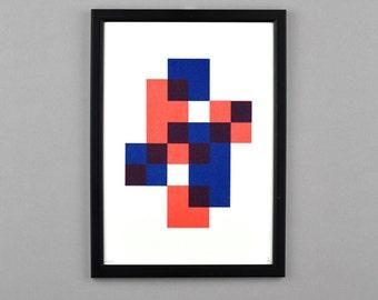 Geometric Overlay Pattern Riso Print A4 Artwork