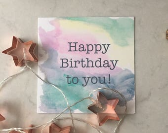 Watercolour Rainbow Birthday Card