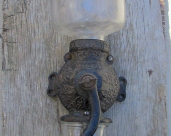 Antique Arcade Crystal Hand Crank Coffee Grinder, Farm House Decor