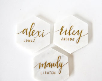 White Marble Place Cards with Calligraphy