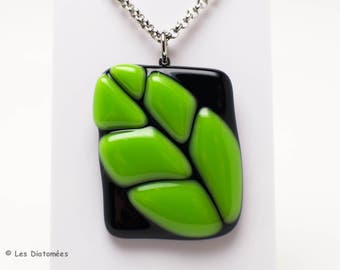 Fused glass pendant - green leaf on clear or black