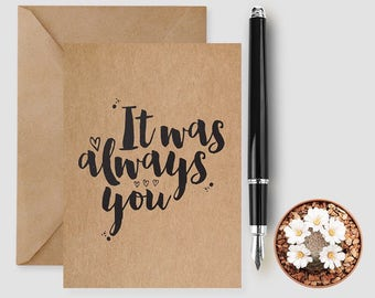 It Was Always You Card, Bride Wedding Day Card, Groom Wedding Day card, Card For Bride, Card For Groom.