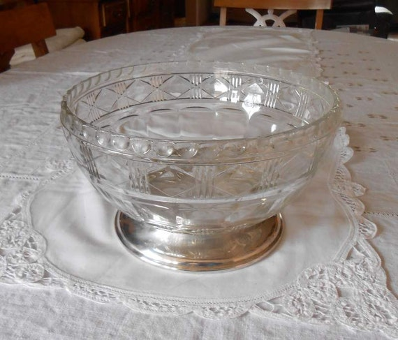 Large EAPG Salad Or Fruit Bowl With Attached Silver Plate Base Wedding Reception Size