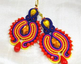 Colorful Earrings Dangle Earrings Soutache Jewelry