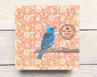 Turquoise Honeycreeper Bird Print on Hardboard Canvas by Andrea Holmes