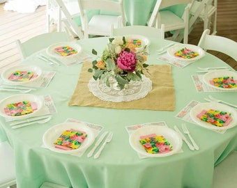 10 Mint Green Satin Tablecloth, Mint Green Tablecloth, Cake Table, Head  Table,