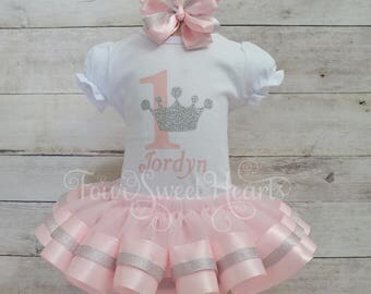 Princess Birthday Outfit, Pink Girls First Birthday Tutu, Girls Princess Outfit, Pink and Silver Tutu Outfit, Available in Silver or Gold