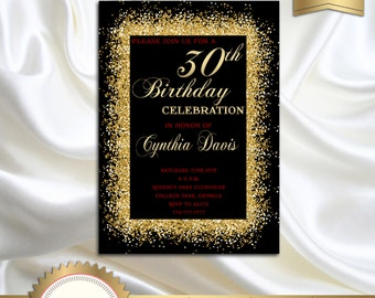 Elegant Black, Gold and Red Adult's Birthday Party Invitation 21st 30th 40th 50th 60th 70th 80th 90th or any age- Printable DIY