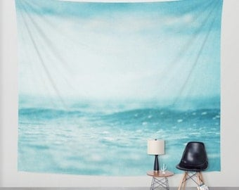 Ocean Tapestry. Home Decor. Large Size Wall Art. Photo tapestry, tapestry mint decor abstract nursery decor mint sea blue