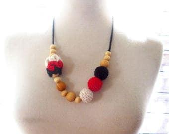 Team Spirit Nursing Necklace-teething Necklace-crochet beads-team colors -Utah State-Arkansas razorbacks -Wisconsin badgers-NIU Huskies-SUU