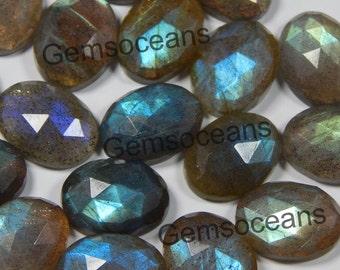 Lot 10 Pieces Natural Labradorite 10x12 MM Oval Shape Rose Cut Loose Gemstone .