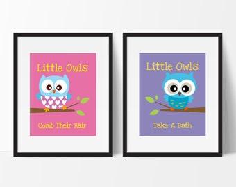 Owl Bathroom - Kids Bathroom Decor - Owl Bathroom Decor - Kids Bathroom Decor - Little Owls Wash Their hands Print - Set of 2 Prints