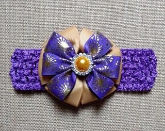 Baby Headband, Purple Headband, Gold Headband, Baby Girl Headband, Baby Hair Accessory, Girls Hairbow, Easter Headband, Purple Hairbow