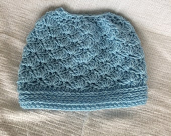 Sky Blue Messy Bun Hat | Robin's Egg Blue Ponytail Beanie