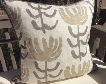 William Yeoward for Designer's Guild Pillow Cover in Pierrette Flowers Greige and Sand on White Linen, Linen Back