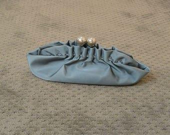 90s Purse// Baby Blue Purse// Satin Clutch Purse
