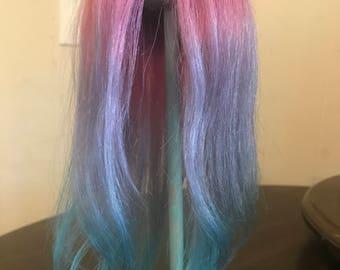 Unicorn Human Hair Doll Wig BJD 5-7