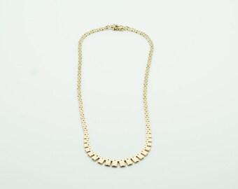 SOLID GOLD 14K Brick Necklace 585 SAV (Scandia Affinerings Værk - Copenhagen 1943-1953) Danish Design Collier Modern Denmark Midcentury