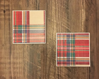 christmas plaid coasters {set of 2} // drink coasters, ceramic, tile, winter, holidays, flannel, housewarming, handmade
