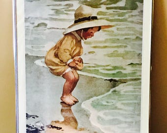"""Framed Jessie Wilcox Smith Lithograph, """"By The Sea"""""""