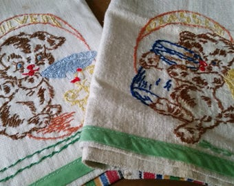 Embroidered Pair of Tea Towels - Kitschy Dogs Doggies Puppies Glasses Tea Towel and Silver Tea Towel - Embroidery - Hand Sewn - Kitsch Dogs