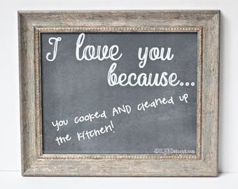 I Love You Because Dry Erase Board Picture Frame - Husband Gift - Anniversary Gift - Wedding Gift