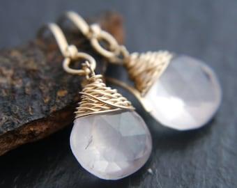 Rose Quartz, Briolette Earrings, 14K Gold, Wire Wrapped, Gemstone Earrings, Small Drop Earrings, Simple Dangle Earrings, Ballet Pink, Boho