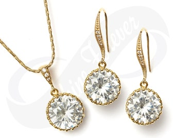 Gold Bridesmaid Jewlery Set Bridal Cubic Zirconia Earrings and Necklace Set Bridal Jewelry CZ Necklace Bridal Set Gold Bridesmaid Gift