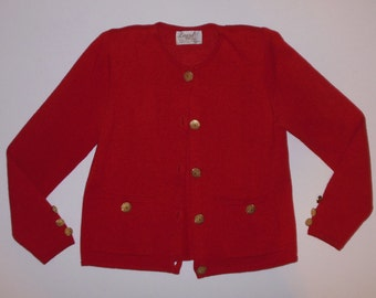 Vintage Red Knit Cardigan Sweater Gold Buttons S Laura Petites Alyzia USA Blazer
