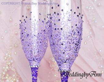 Lavender  and Purple Wedding Glasses, Lavender Wedding, Wedding Champagne Flutes, Bride And Groom, Purple Wedding, Wedding gift
