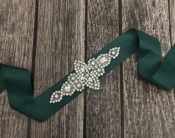 Hunter green sash, Flower girl sash, childrens sash, wedding sash, rhinestone sash, dress sash