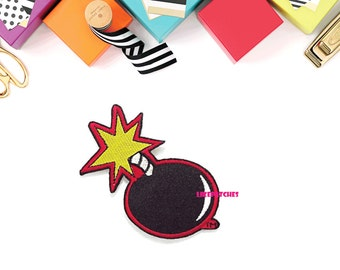 Black Bomb Cute Funny Comics Cartoon Patch New Sew / Iron On Patch Embroidered Applique Size 7.7cm.x7.4cm.