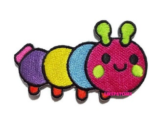 Happy Worm Rainbow Patch - Cute Patch New Sew / Iron On Patch Embroidered Applique Size 7.7cm.x4.7cm #