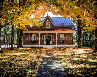 Fall Scenery Photo Autumn Decor House Photo Fine Art Photography Eastern Townships Photo Rustic Charm Yellow Orange Leaves Charming Rural